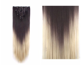 "Ombre Hair Extensions 26"" Dark Brown to Bleach Blonde Ombre Clip In Extensions Long Straight Wavy Curly Hair Weave Wigs TOP QUALITY #H9"