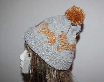 Grey Beanie Hat with Golden Corgi dogs - with or without pompom option
