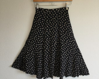Nautical vintage navy blue knee length skirt xs small