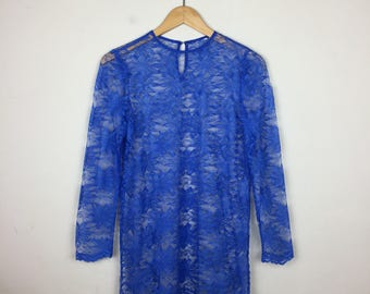 Vintage Lace Dress Size Small, Blue Lace Dress, 70s Lace Dress