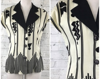SALE Vintage 80s Blouse Black and White Button Down Shirt //  Top Short Sleeve Collar Geometric Abstract Printed // Size S Small