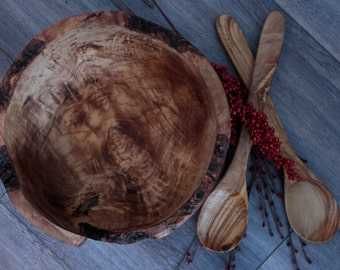 Wooden salad bowl , olive wood , bowl , cooking battery , rustic bowl , wooden bowl , wedding gift , gift for her , gift for him