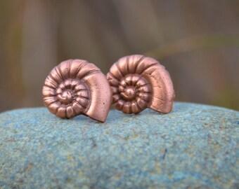 Copper Nautilus Sea Shell Earrings