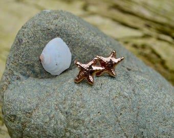 Ruby Bronze Starfish Stud Earrings