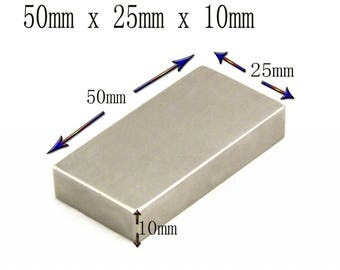 Super Strong 50mm x 25mm x 10mm Rare Earth Large Neodymium Block Rectangle Magnet N50 Grade
