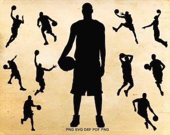 Basketball svg files, Basketball player silhouette, Basketball clipart, Sports clip art, Svg files for Silhouette, Cut files for Cricut