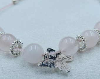 Butterfly bracelet, pink quartz and sterling silver