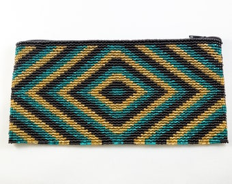 Teal Gold and Black Hand Beaded Coin Purse