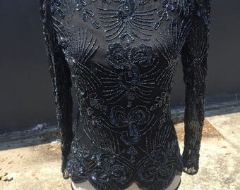 NWT Vintage Black Sequined Top
