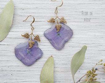 Earrings with hydrangea, Floral Earrings, Resin Flower Earrings, Botanical earrings, Nature Jewelry, Eco Gift, Purple Earrings