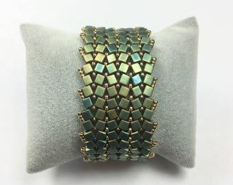 Cubes Miyuki Green Khaki matte and gold Cuff Bracelet