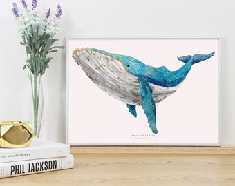 Whale Swimming Graphic Print