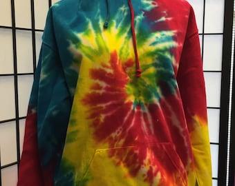 Reactive Rainbow Tie Dye Hoodie Adult Medium