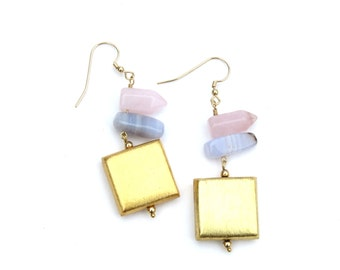 Rose Quartz Prisms, Chalcedony Nugget and Gold Square Earrings