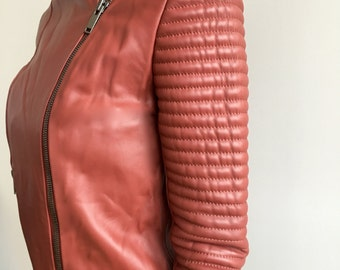 Classic Leather Biker Style Jacket- XS Auburn Red