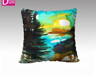 Cushion cover, ground landscape painted in watercolor, Velvet