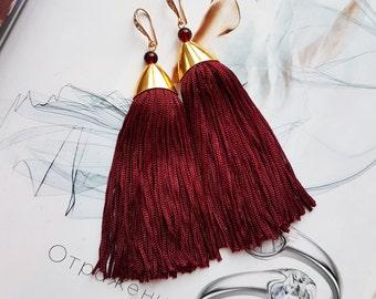 Marsala Fringe tassel earrings , Sping Statement earrings Tassel Earrings Gold plated tender pikn fringe bridal earrings tassel jewelry gold