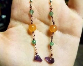 Carnelian, amethyst and aventurine earrings.