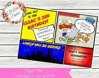 Custom SUPERHERO Birthday Invite~Digital Download