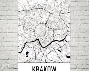 Krakow Map, Krakow Art, Krakow Print, Krakow Poland Poster, Krakow Wall Art, Krakow Poster, Krakow Gift, Krakow Decor, Krakow Map Art