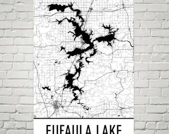 Oklahoma Lake Map Etsy - Oklahoma lake map