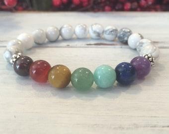 7 Chakra Bracelet, Howlite Chakra Bracelet, Balancing Energy,  Healing Bracelet For Calming, Stress Relief, Meditation, Mindful Living