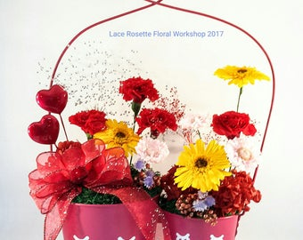 Preserved Mixed Preserved Flower Arrangement in a Dual Flower Pot with Heart shaped handle - LR016RED