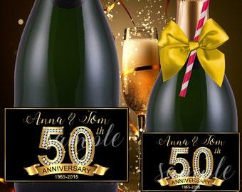 50th Anniversary champagne labels,Anniversary mini champagne bottle labels,personalized champagne labels,birthday champagne labels,(1)