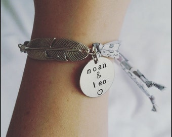 Feather bracelet, Liberty London, personalised bracelet, Handstamped jewellery, feather jewellery, floral, feather gift, mum gift, present