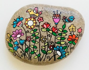 Hand Painted Stone Flower Doodles
