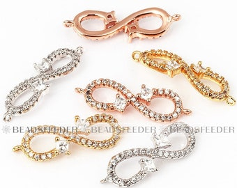 Infinity connector link Clear CZ cubic zirconia micro paved , Eternity Link, space connector,Rose Gold/black/Silver colour, 25mm