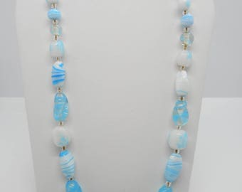 Antique Blue and White Art Glass Necklace NICE!