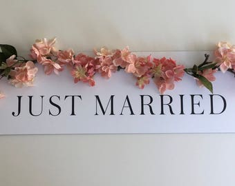 Pink Cherry Blossom Just Married Sign