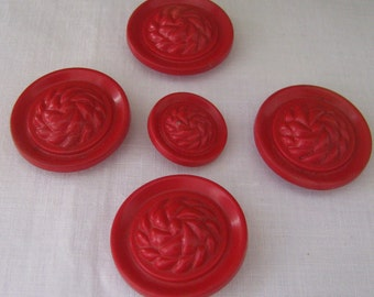 5 Vintage Matching Red Plastic Buttons