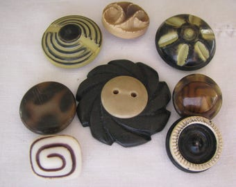 8 Vintage Assorted Lightweight Celluloid Buttons