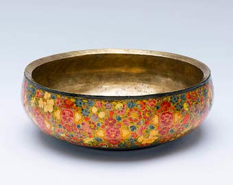 Vintage metal bowl, decoupage bowl, patterned bowl, retro bowl, vintage floral bowl, retro bowl, metal bowl, vintage bowl