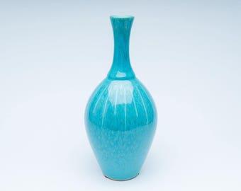 Vintage vase, retro bulb vase, ceramic vase, turquoise vase, retro blue vase, vintage ceramics, retro vase