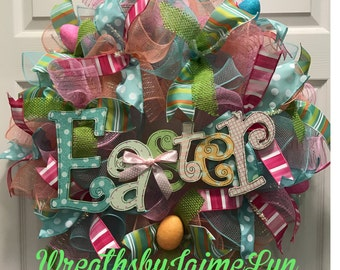 Easter Wreath, Easter deco mesh wreath, Spring wreath, Spring Deco mesh Wreath, front door wreath,
