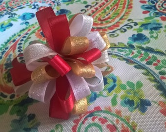 Red, White and Gold Pom Pom on a Barrette