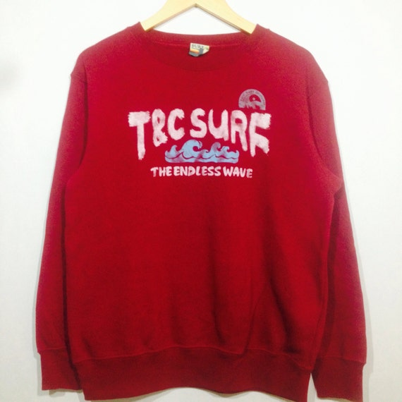 Rare! Vintage T&C SURF DESIGN The Endless Wave Crew Neck Pullover Sweatshirt Dark Red Colour Medium Size