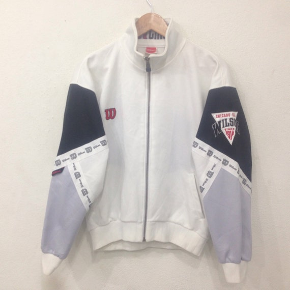 Rare! Vintage WILSON Chicago USA Since 1914 Big Logo Embroidery Spellout Full Zipped Sweater White Colour Large Size