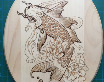 Koi Fish Pyrography - Wood Burned Wall Art