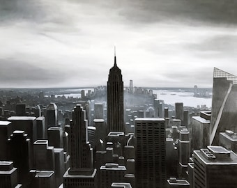 New York City Skyline Original Painting black and white, oil on canvas