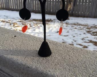 Red Or Orange Leaf Earrings