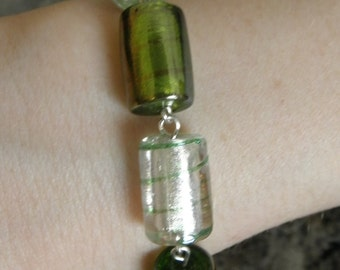 Handmade Green and Silver Chunky Bracelet