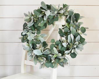 Lamb's Ear and Eucalyptus Wreath, Greenery Wreath, Rustic Decor, Farmhouse Wreath, Large Greenery Wreath, Year Round Wreath, Unique Wreath
