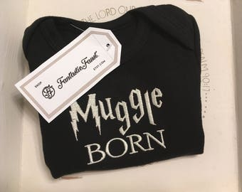 "Black (New) ""Muggle Born"" Onesie [9 to 12 months]"
