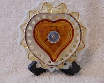 Heart of Gold- glass plate flower