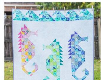 Watercolor Sea Horses Quilt Pattern