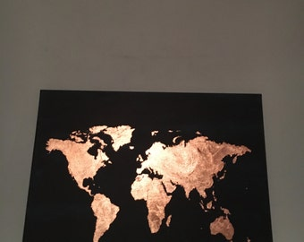 Midnight Blue and Copper Leaf Map of the World